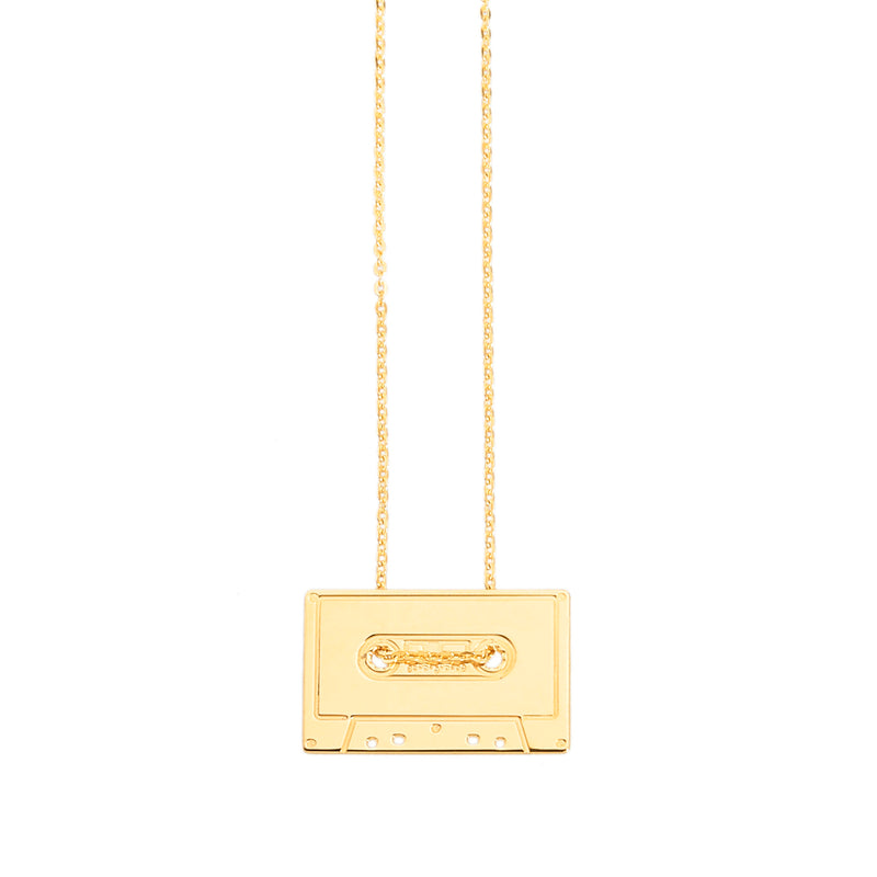 customizable necklace with a cassette in silver 925 or gold plated