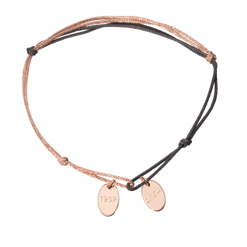 bracelet with 2 charms in rose gold plated