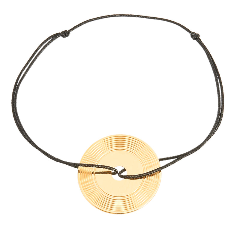 customizable bracelet with a vinyl record in silver 925 and gold plated