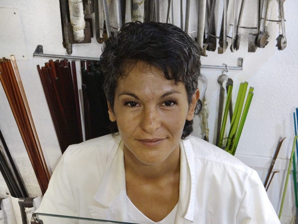 Elena Miani, Murano Glass beads lampworker, in our shop in Venice - MianiVenetianJewelry