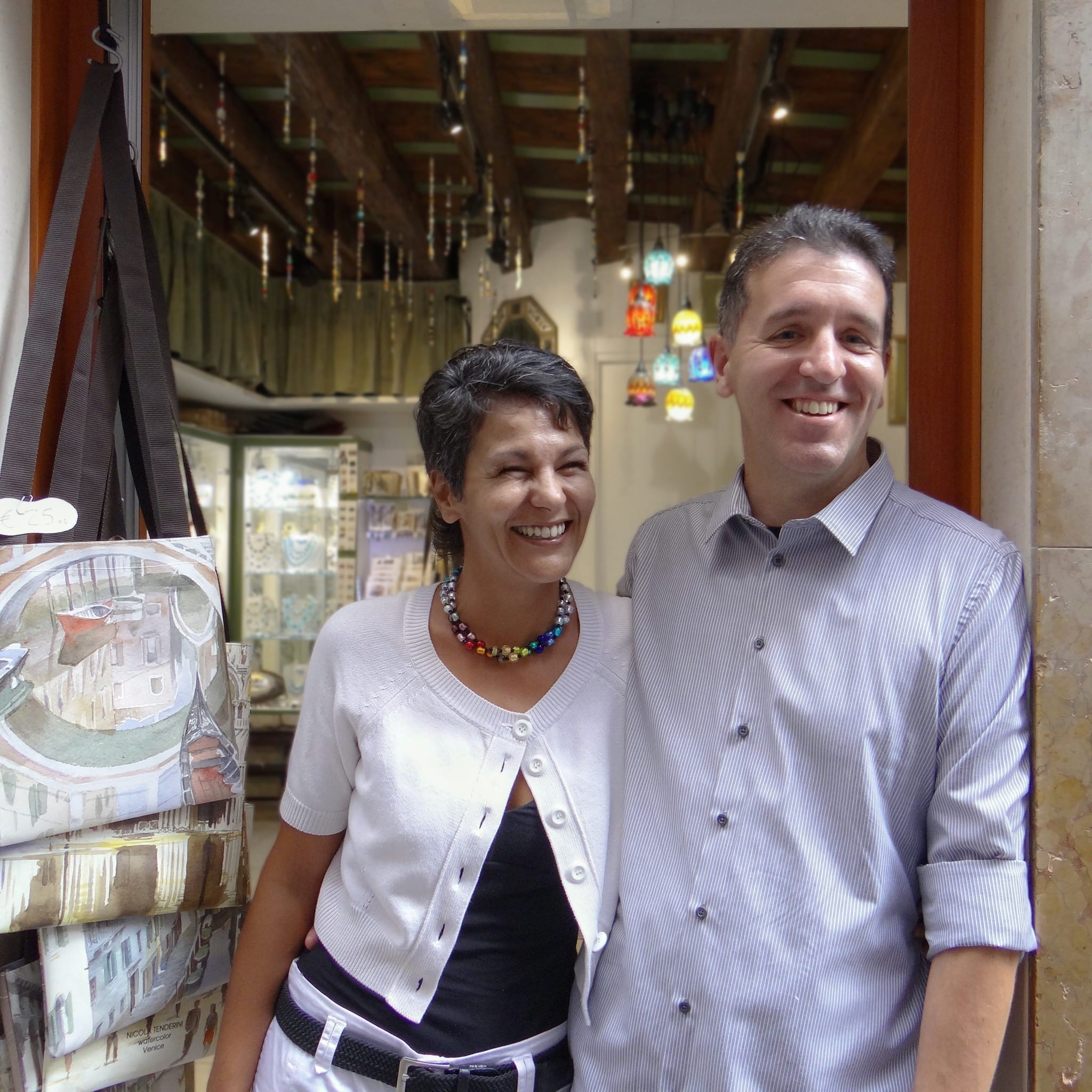 Nicola and Elena Miani, in front of their workshop in Venice, Cannaregio