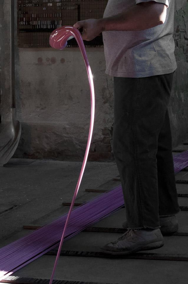 The glass rod while it's being stretched. Source:Effetre Murano