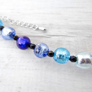 Bracelet with blue and purple Murano glass beads, handcrafted in Venice - From the Arlechin Collection, by Miani Venetian Jewelry