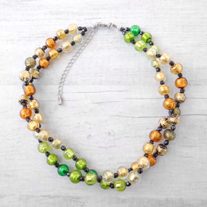 Arlechin - Gold Murano Glass Double Strand Necklace