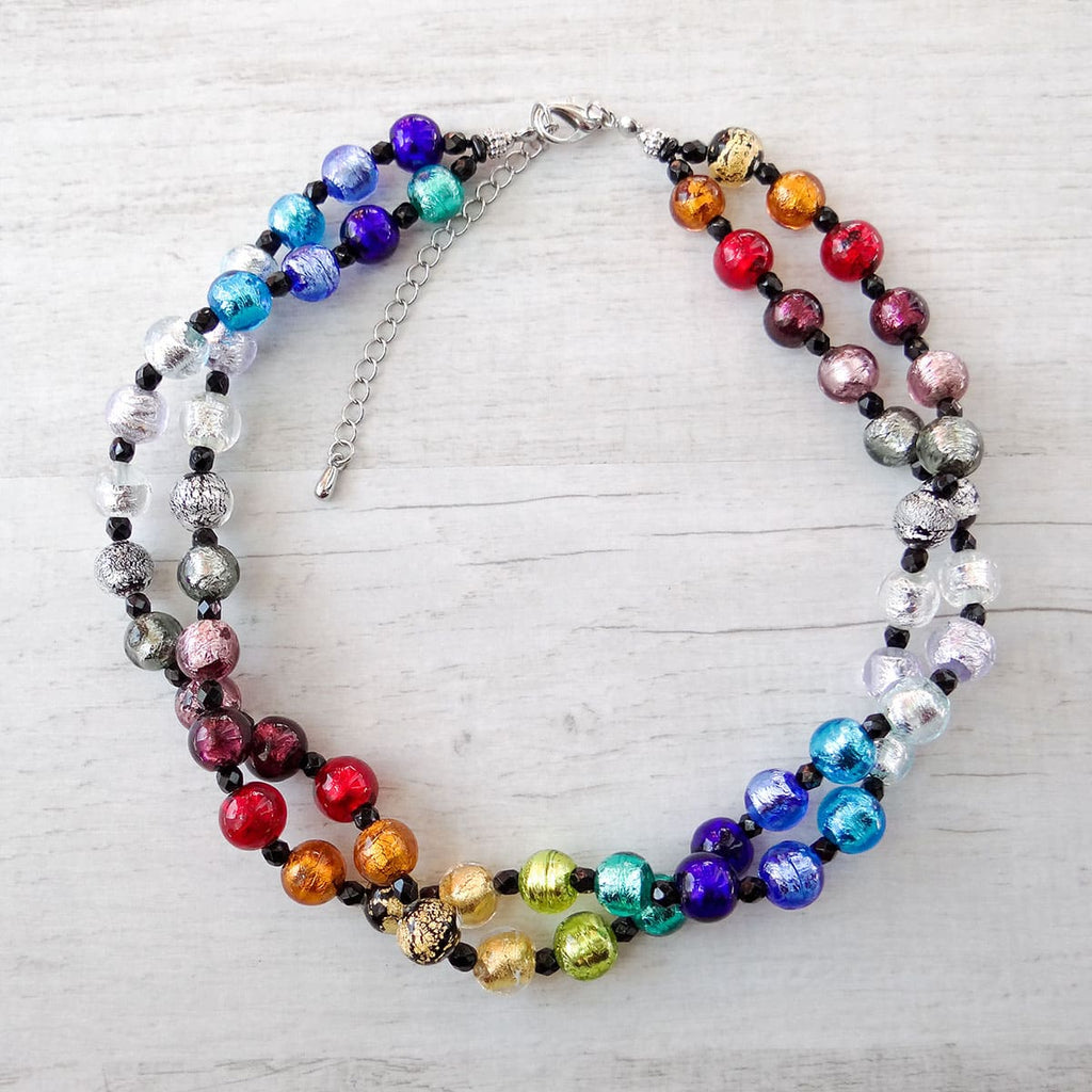 Necklace with rainbow Murano glass beads, handcrafted in Venice - From the Arlechin Collection, by Miani Venetian Jewelry