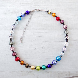 Arlechin - Multicolor Murano Glass Short Necklace