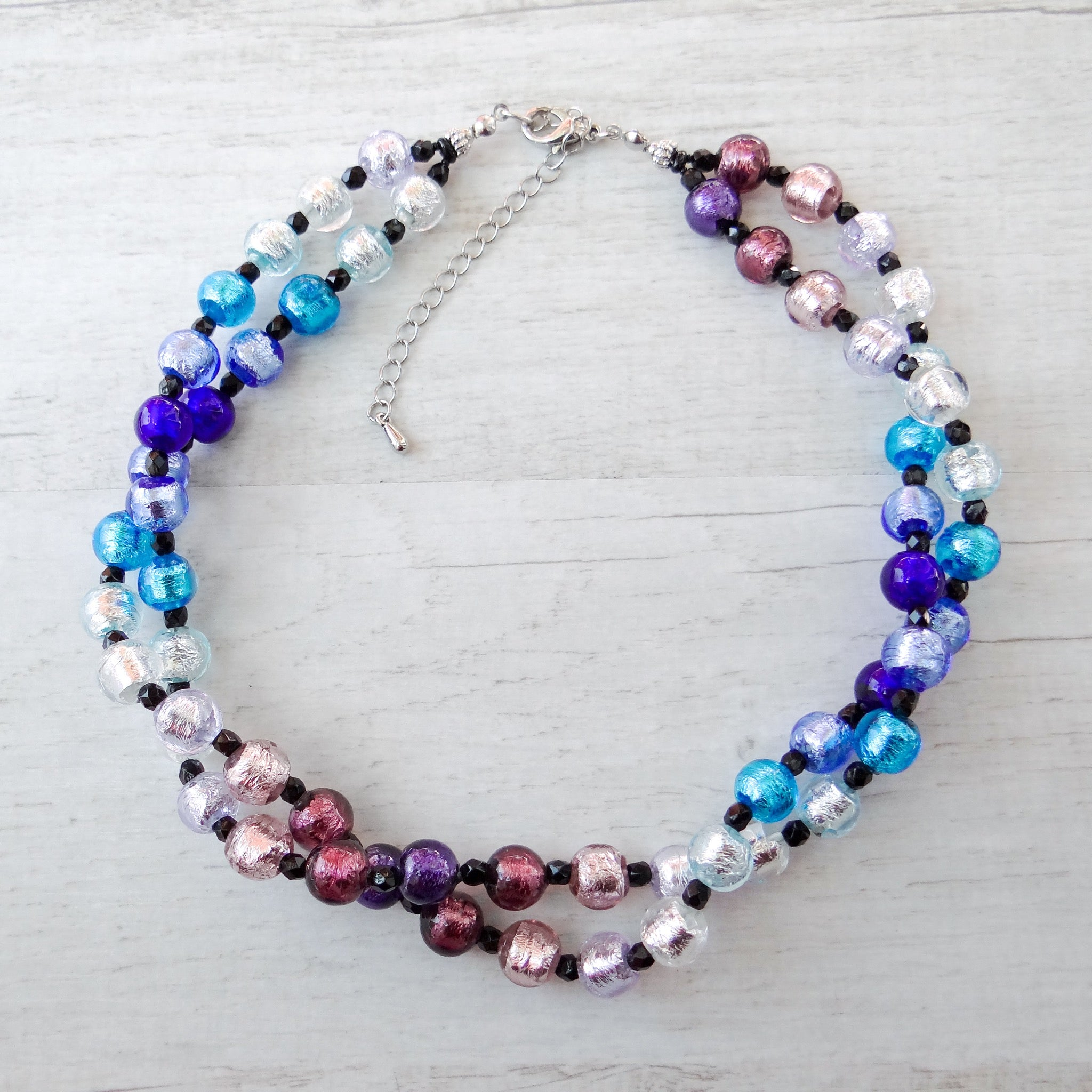 Arlechin - Blue Murano Glass Double Strand Necklace