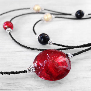 Maravégia - Red Murano Glass Necklace