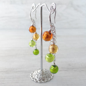 Arlechin - Gold Murano Glass Earrings