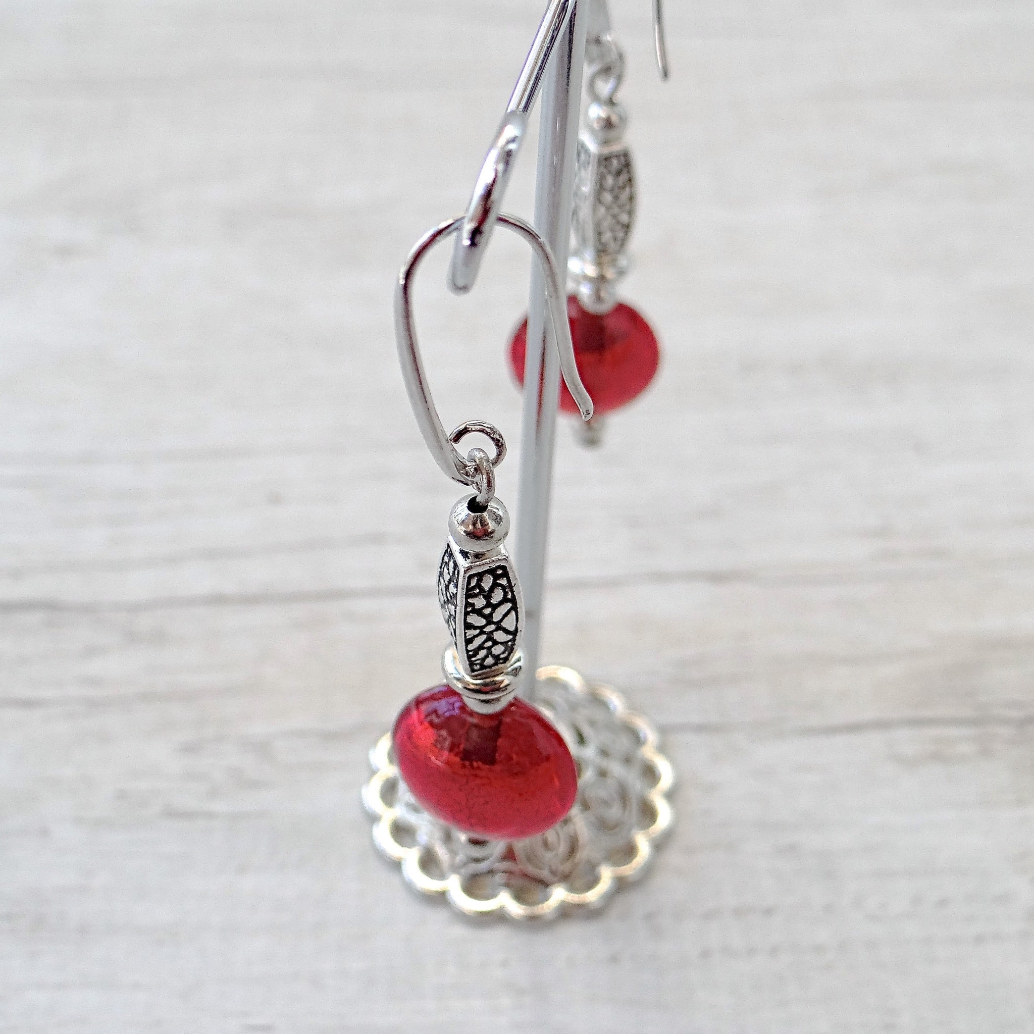 Làgreme - Red Murano Glass Earrings