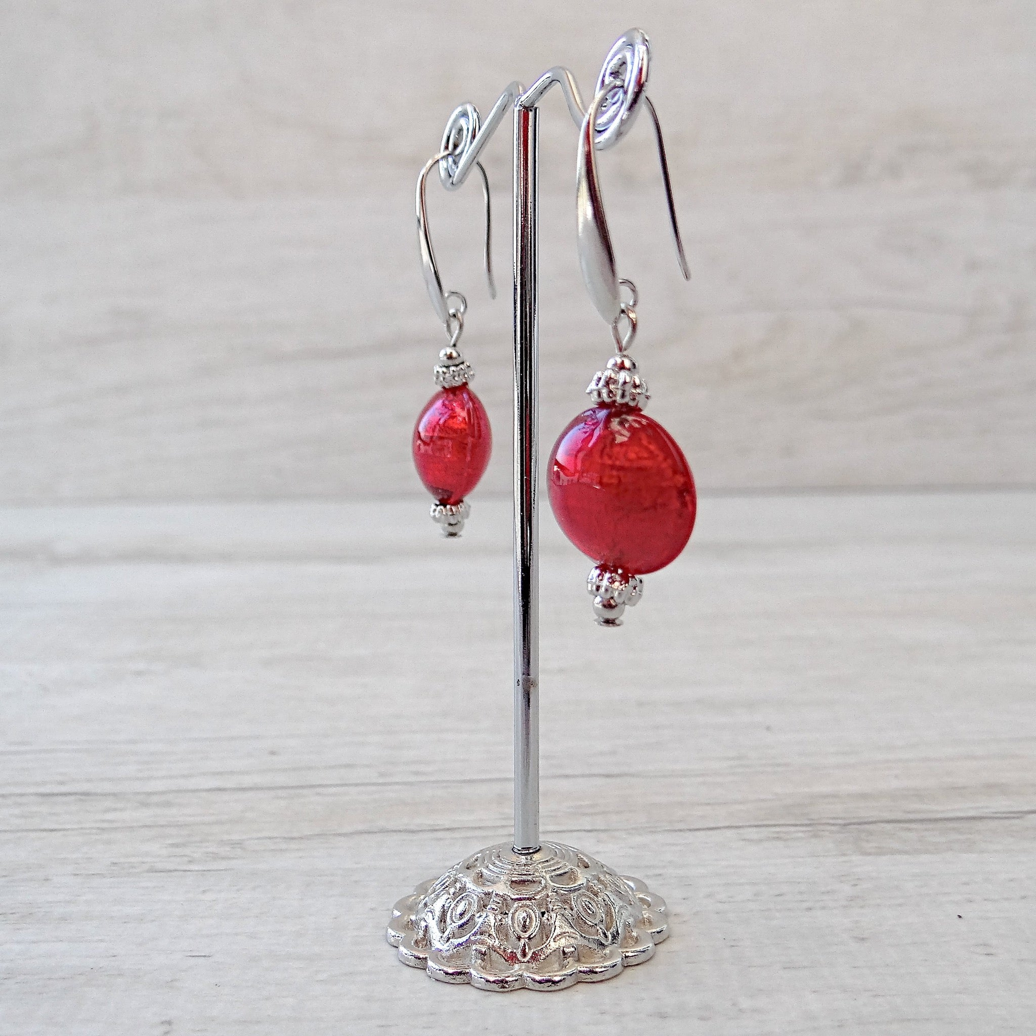 Maravégia - Red Murano Glass Earrings