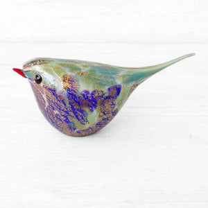 Blue and Green Murano Glass Bird, handcrafted in Venice - Glass blown creation by Maestro Giorgio Bruno, sold by Miani Venetian Jewelry