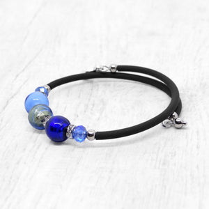 Bracelet with Blue and Periwinkle Murano glass beads, handcrafted in Venice - From the Bàgolo Collection, by Miani Venetian Jewelry