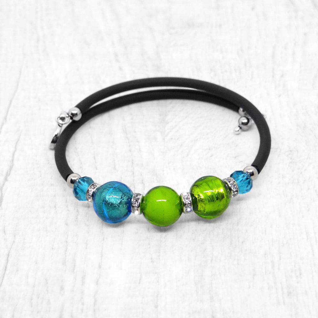 Bracelet with Green and Blue Murano glass beads, handcrafted in Venice - From the Bàgolo Collection, by Miani Venetian Jewelry