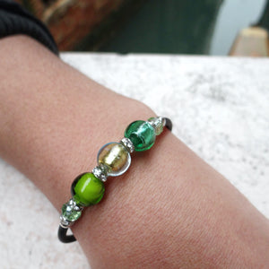 Bracelet with Green Murano glass beads, handcrafted in Venice - From the Bàgolo Collection, by Miani Venetian Jewelry