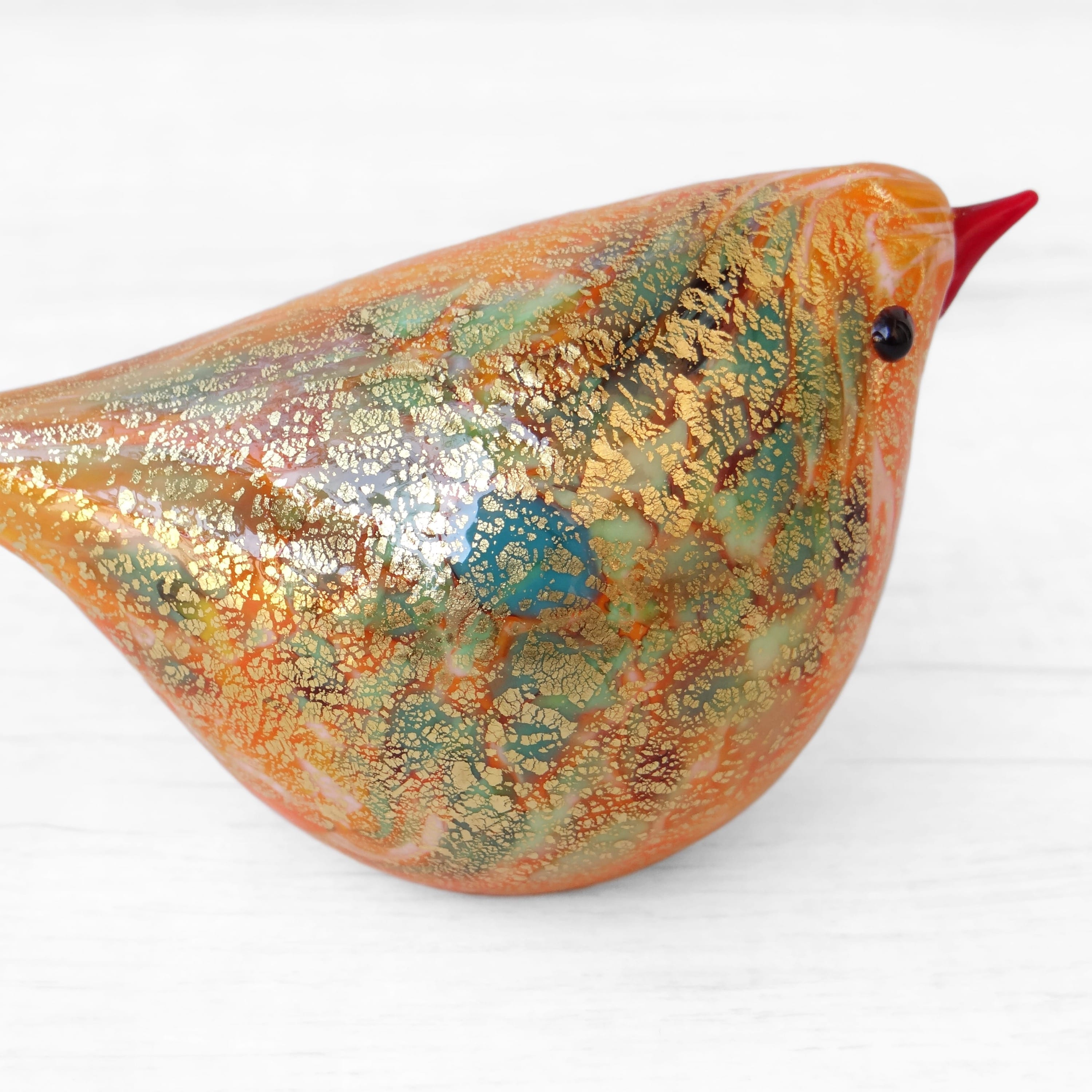 Orange and Green Murano Glass Bird, handcrafted in Venice - Glass blown creation by Maestro Giorgio Bruno, sold by Miani Venetian Jewelry