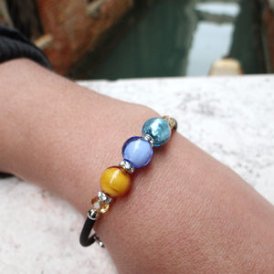 Bracelet with Periwinkle and Topaz Murano glass beads, handcrafted in Venice - From the Bàgolo Collection, by Miani Venetian Jewelry