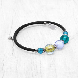 Bracelet with Pink and Blue Lagoon Murano glass beads, handcrafted in Venice - From the Bàgolo Collection, by Miani Venetian Jewelry