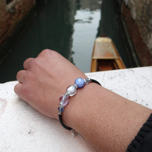 Bracelet with Pink and Periwinkle Murano glass beads, handcrafted in Venice - From the Bàgolo Collection, by Miani Venetian Jewelry