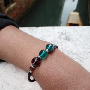 Bracelet with Purple and Blue Lagoon Murano glass beads, handcrafted in Venice - From the Bàgolo Collection, by Miani Venetian Jewelry