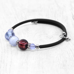 Bracelet with Purple and Pink Murano glass beads, handcrafted in Venice - From the Bàgolo Collection, by Miani Venetian Jewelry