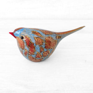Red and Blue Murano Glass Bird, handcrafted in Venice - Glass blown creation by Maestro Giorgio Bruno, sold by Miani Venetian Jewelry