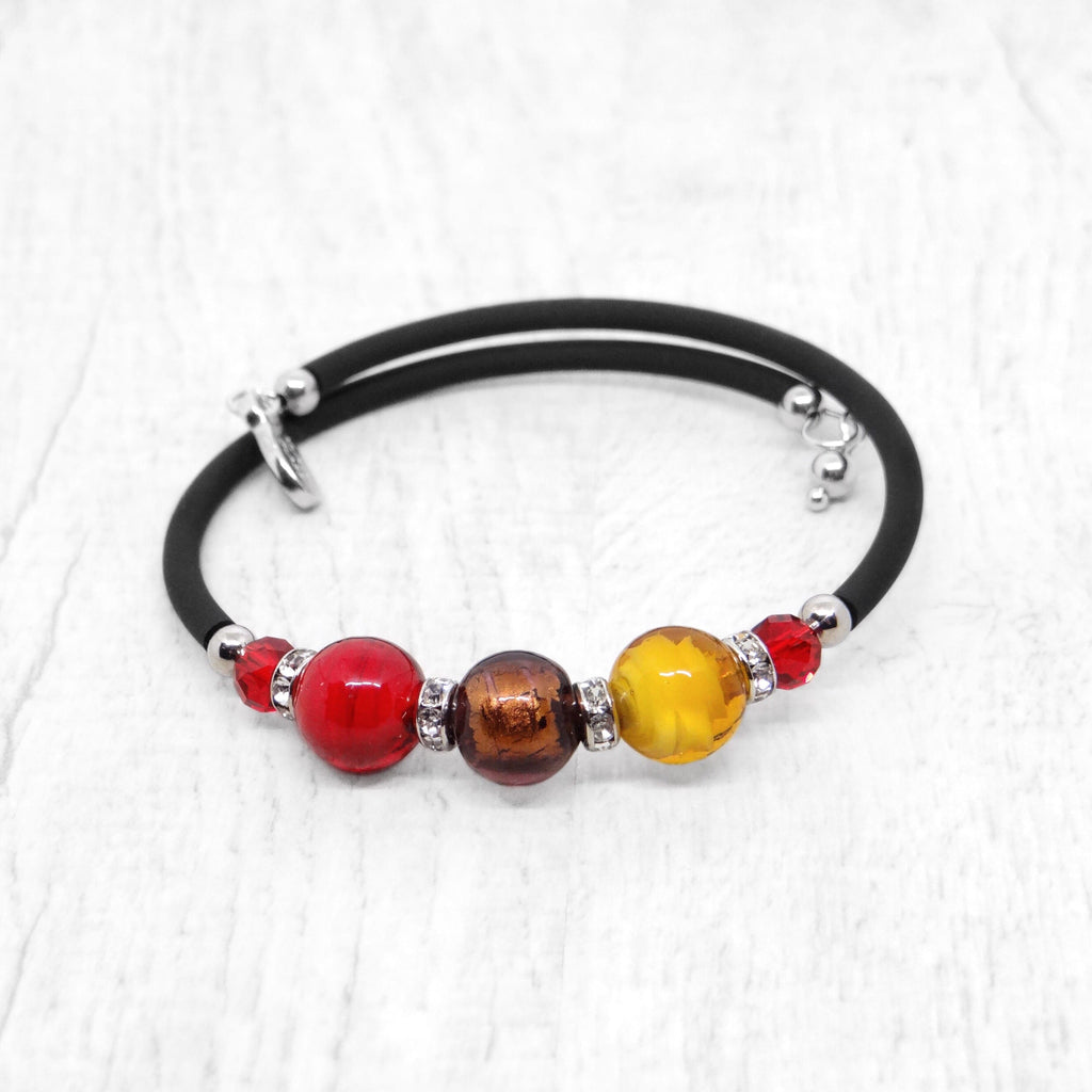 Bracelet with Red and Topaz Murano glass beads, handcrafted in Venice - From the Bàgolo Collection, by Miani Venetian Jewelry
