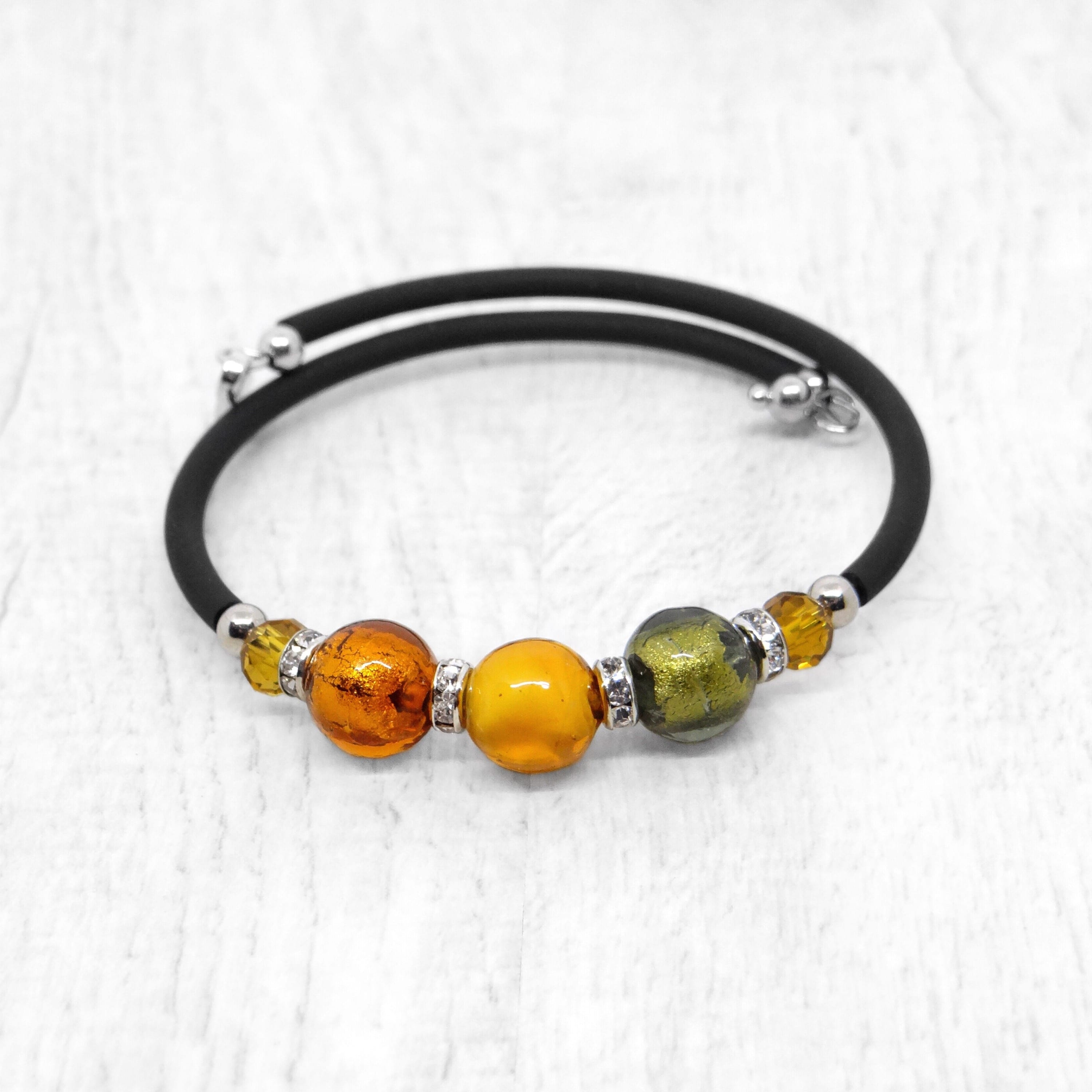 Bracelet with Topaz Murano glass beads, handcrafted in Venice - From the Bàgolo Collection, by Miani Venetian Jewelry