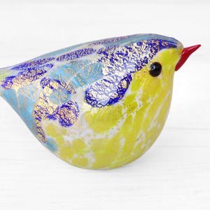 Yellow and Blue Murano Glass Bird, handcrafted in Venice - Glass blown creation by Maestro Giorgio Bruno, sold by Miani Venetian Jewelry