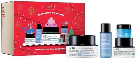 Lithe Lashes Blog Holiday Gift Ideas, belif Moisture Festival set from Sephora website, showcasing skincare products, moisturizing bomb, aqua bomb, eye bomb, makeup removing bomb, in a red christmas box with christmas tree and lights, playful whale and hippo with fireworks in the background
