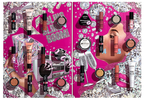 Lithe Lashes Blogs Holiday Gift Ideas NYX-Diamonds & Ice, Please 24 Day Holiday Countdown Advent Calendar, showcasing various loud images of lipsticks, eyeshadow, glosses, with background images of cash, diamonds, and stereo system, with champagne glasses
