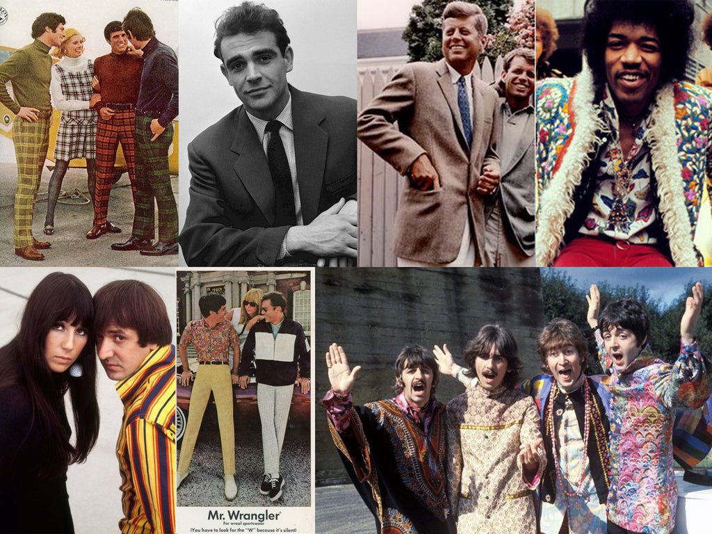 Lithe Lashes Journal | Pride & LGBTQ Rights | 60's Men's Fashion Trends | 60's Men's Beauty Trends | Queer Rights | Hippie Fashion | Dapper Style | Anti-War | Jimi Hendrix | The Beatles | John F Kennedy | Sean Connery | Mad Men | Don Draper | Collage