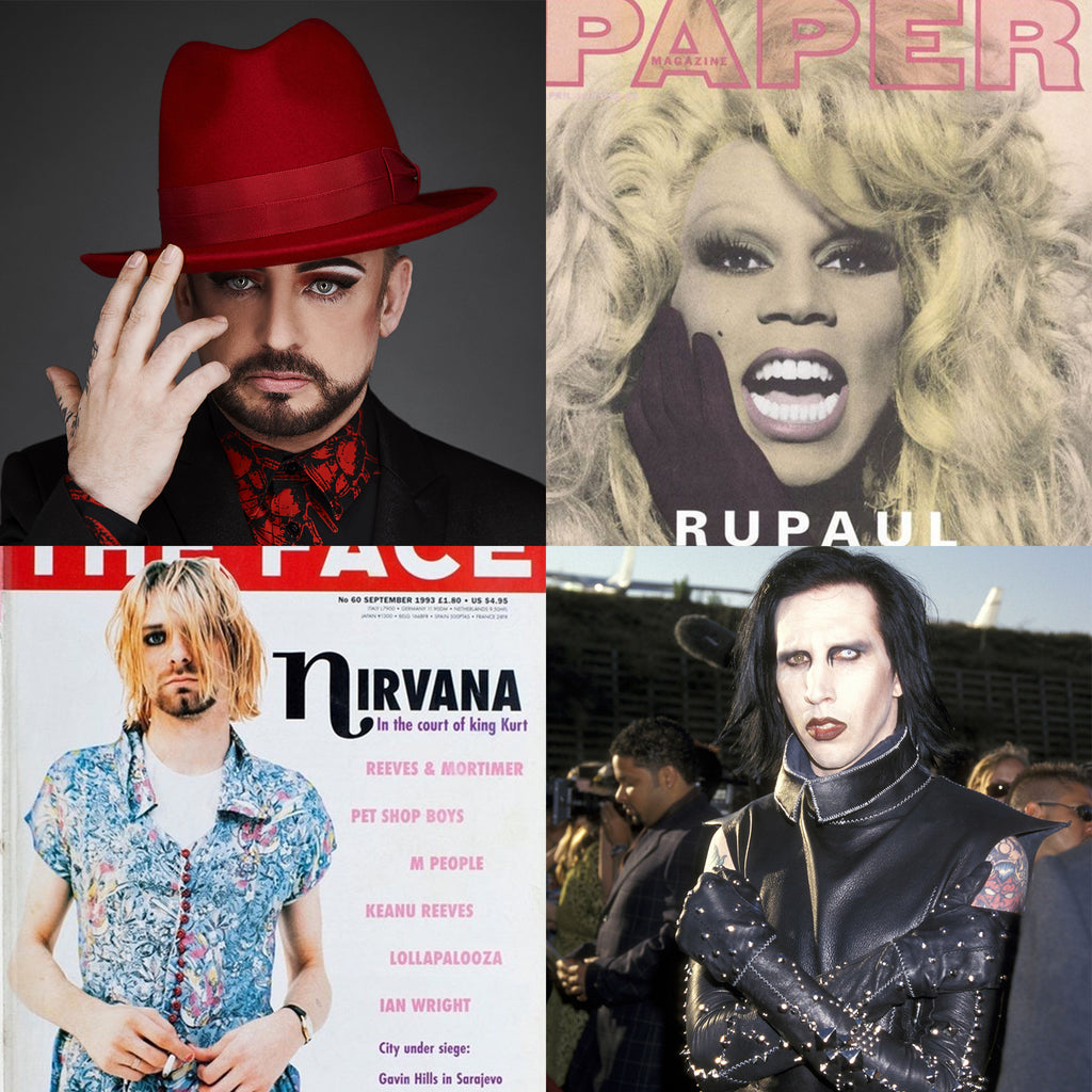 Lithe Lashes Journal | Pride & LGBTQ Rights | 90's Men's Fashion Trends | 90's Men's Beauty Trends | Anti-Fashion | Grunge Fashion | Gender Neutral | RuPaul | Boy George | George Michael | Prince | Collage