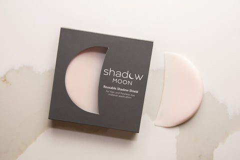 Lithe Lashes Blogs 10 Local Eco Brands Shadow moon reusable shadow shield in dark grey box with half moon cut out and dues pinkish shield out of the box next on nude back drop