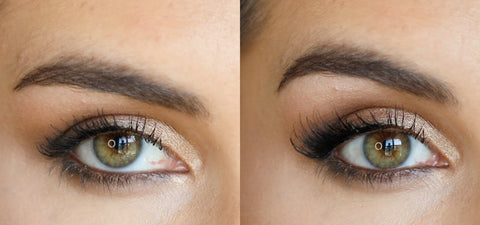 Before and After image showing how half lashes lift the eye and adds glam