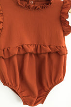 Load image into Gallery viewer, Ruffle Rust Romper - Desert Fawn