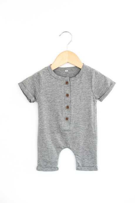 Button Me Up Romper in Gray - Desert Fawn