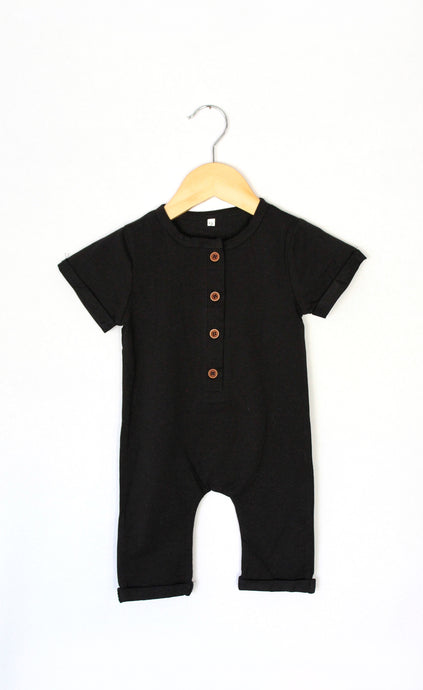 Button Me Up Romper in Black - Desert Fawn