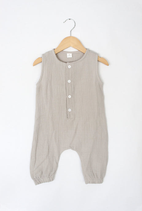 Summer Lovin' Button Romper - Desert Fawn