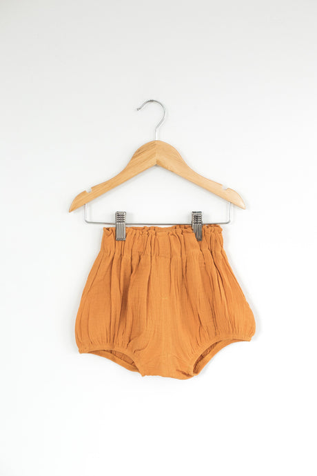High Waist Bloomer Shorts in Mustard - Desert Fawn