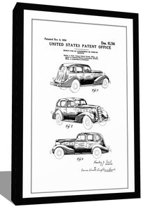 1934 Lasalle Car Patent - Gallery Wrap Canvas w/ COA (Various Sizes)