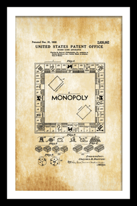Monopoly Game Patent - Gallery Wrap Canvas w/ COA (Various Sizes)