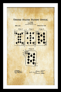 Playing Cards Patent Print - Gallery Wrap Canvas w/ COA (Various Sizes)