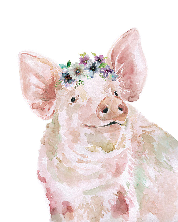 Pig with Flowers - Gallery Wrap Canvas w/ COA (Various Sizes)