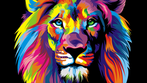 Rainbow Lion -  Gallery Wrap Canvas w/ COA (Various Sizes)