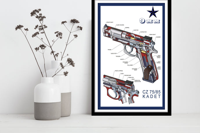 9mm Kadet CZ 75/85 - Gallery Wrap Canvas w/ COA (Various Sizes)