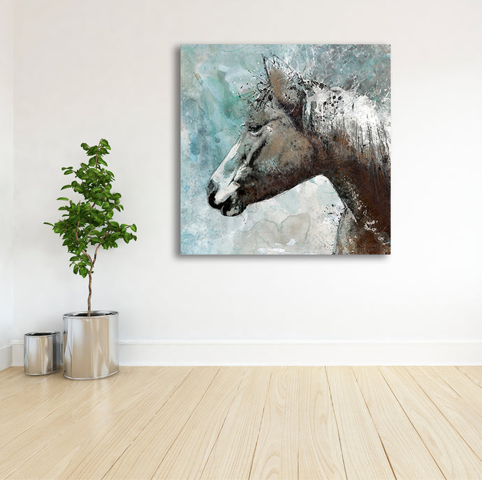 Horse in Blue - Gallery Wrap Canvas w/ COA (Various Sizes)