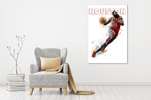 Houston Rockets Harden - Gallery Wrap Canvas w/ COA (Various Sizes)