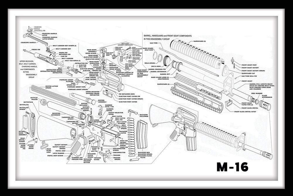 Assault Rifle M-16 - Gallery Wrap Canvas w/ COA (Various Sizes)