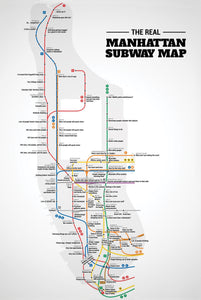 Manhattan subway map - Gallery Wrap Canvas w/ COA (Various Sizes)